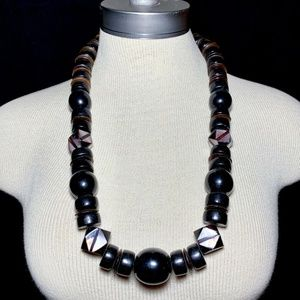 Vintage Wood Mother of Pearl Horn Chunky Necklace